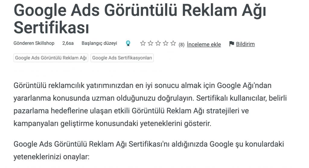 Google Ads Görüntülü Reklam Ağı Sertifikası