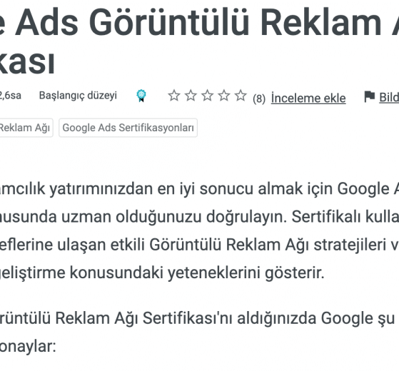 Google Ads Görüntülü Reklam Aği Sertifikasi